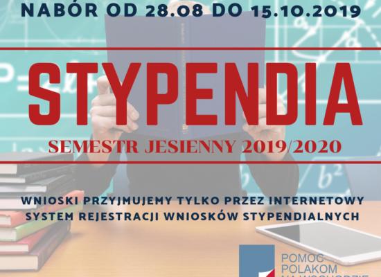 Stypendia – semestr jesienny 2019/2020